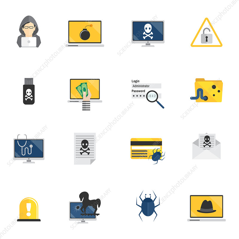 Hacker and computer security icons, illustration