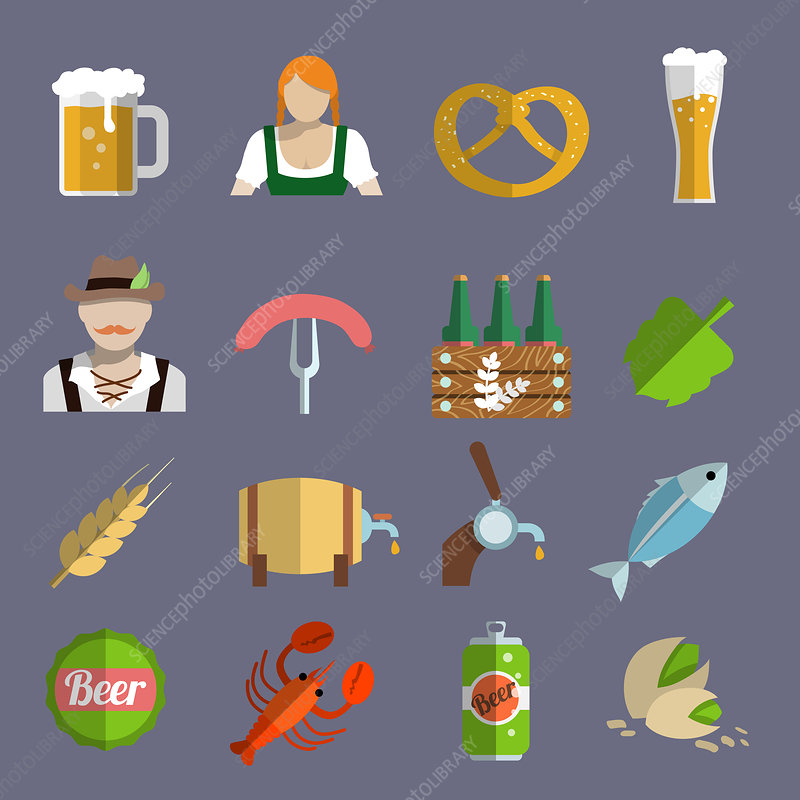 Oktoberfest icons, illustration