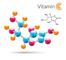 Vitamin C molecule, illustration