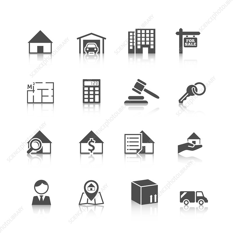 Real estate icons, illustration