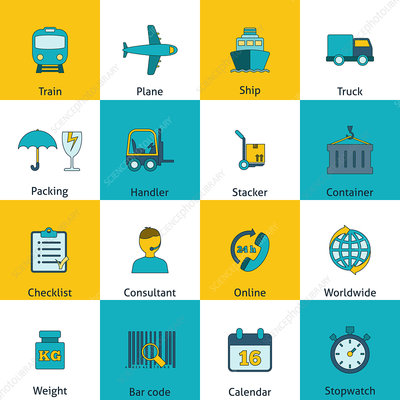 Logistics icons, illustration