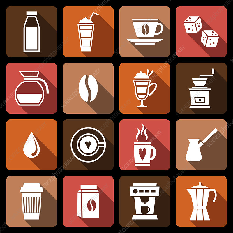 Beverage icons, illustration