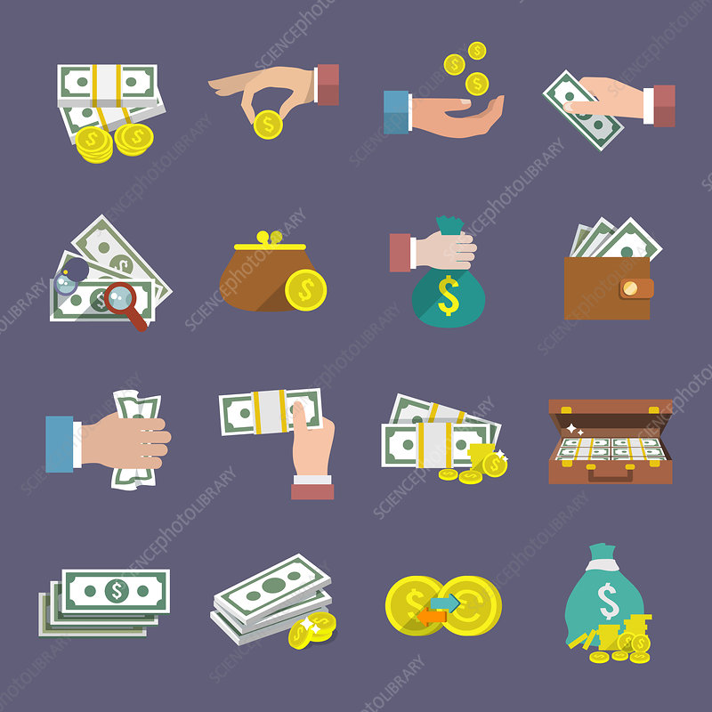 Cash icons, illustration