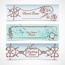 Nautical banners, illustration