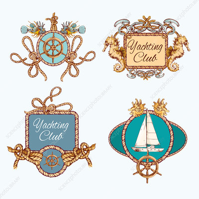 Nautical logos, illustration