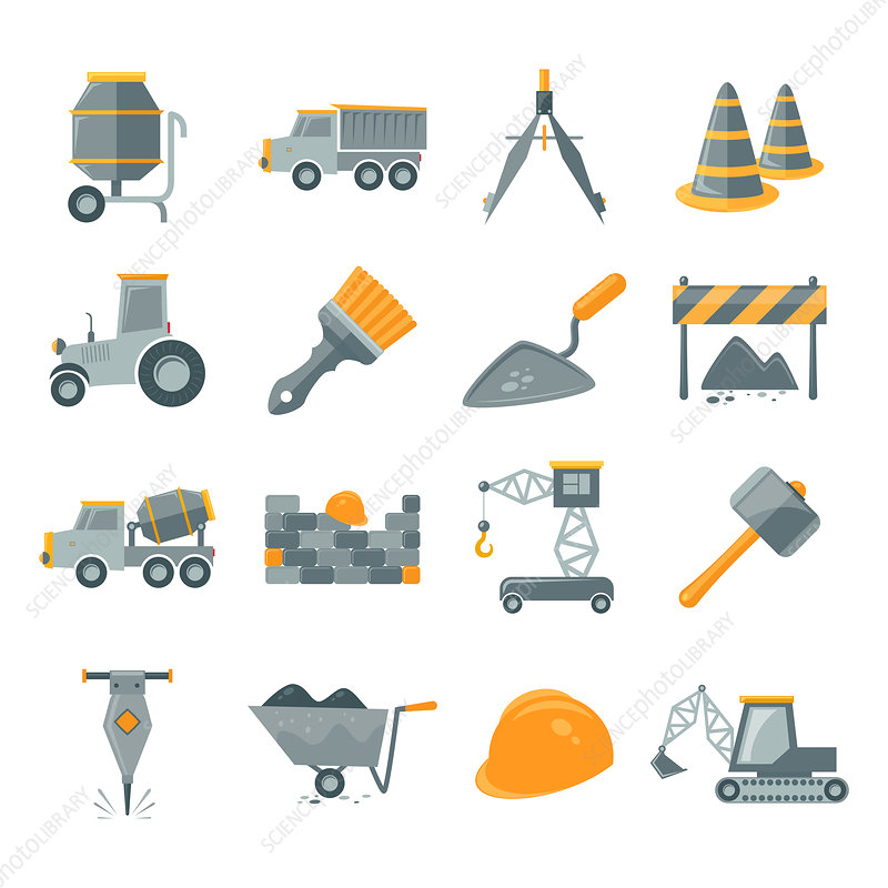 Construction icons, illustration