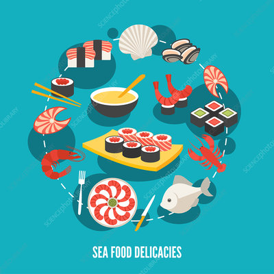 Seafood, illustration