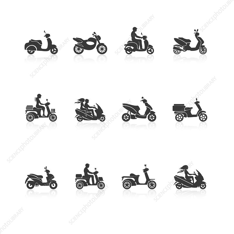 Motorcycle icons, illustration