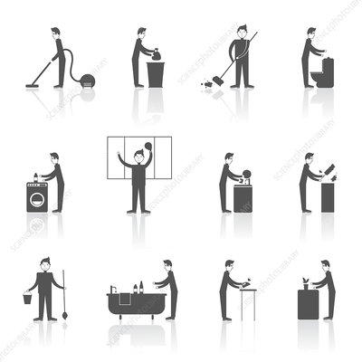 Housework icons, illustration