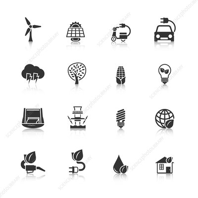 Green energy icons, illustration