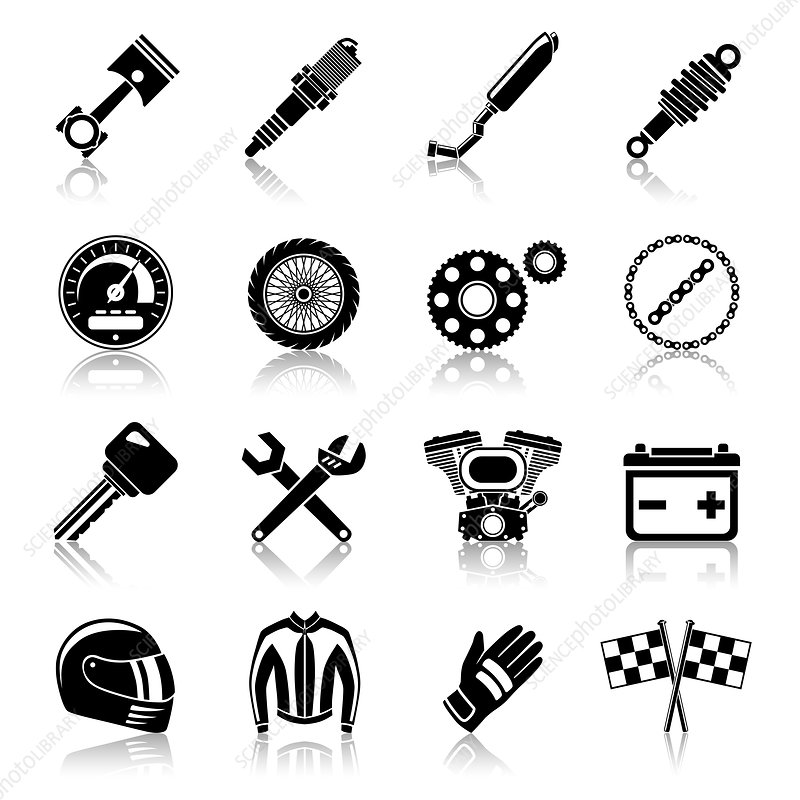 Motorcycle parts icons, illustration