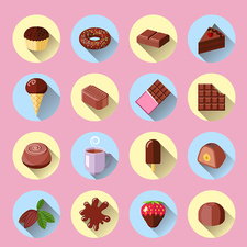 Chocolate products icons, illustration