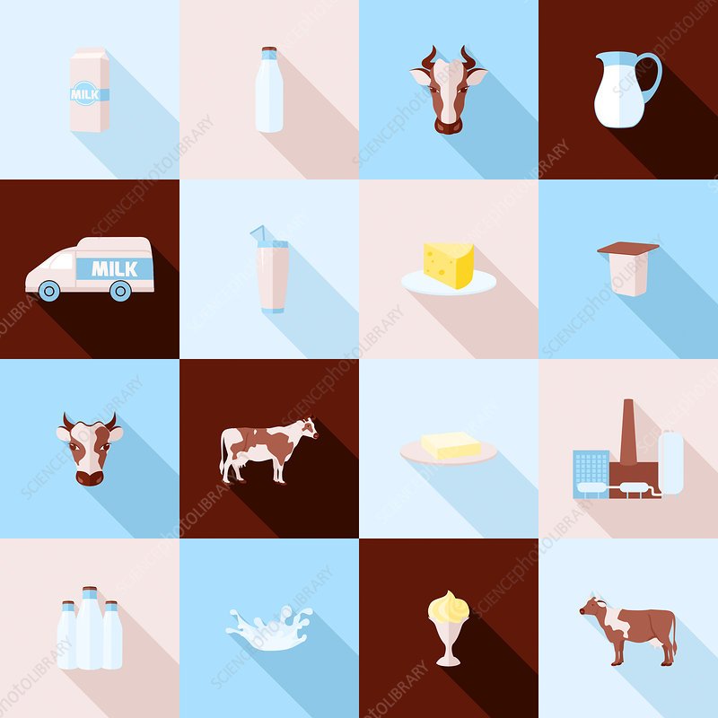 Dairy product icons, illustration