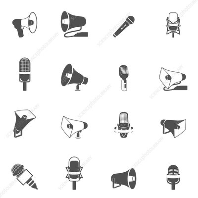 Microphone and megaphone icons, illustration
