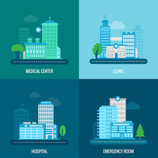 Medical building icons, illustration