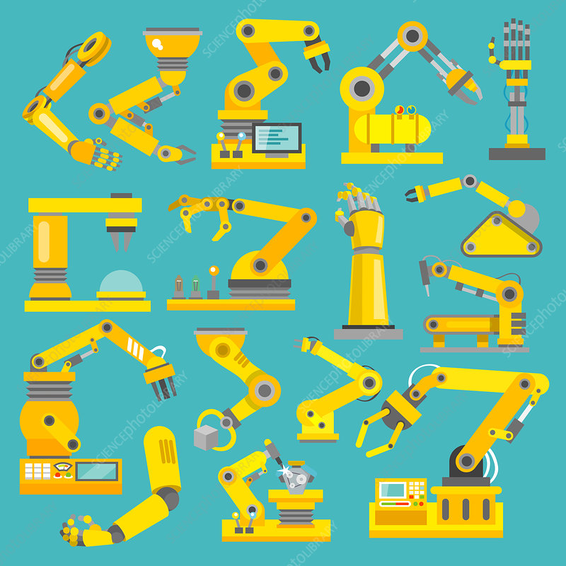 Industrial robot icons, illustration