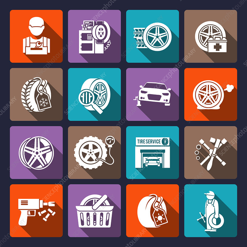 Car mechanic icons, illustration