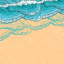 Waves lapping on beach, illustration