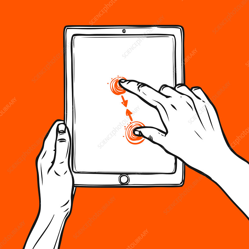 Touchscreen hand gesture, illustration