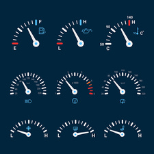 Speedometer icons, illustration