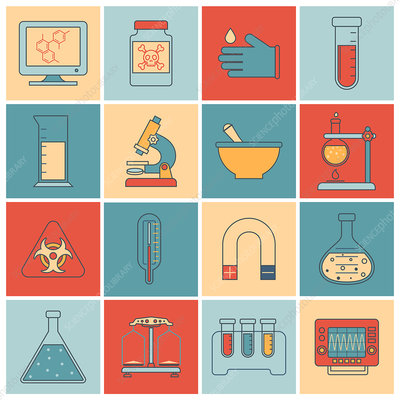 Laboratory icons, illustrations