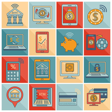 Mobile banking icons, illustration