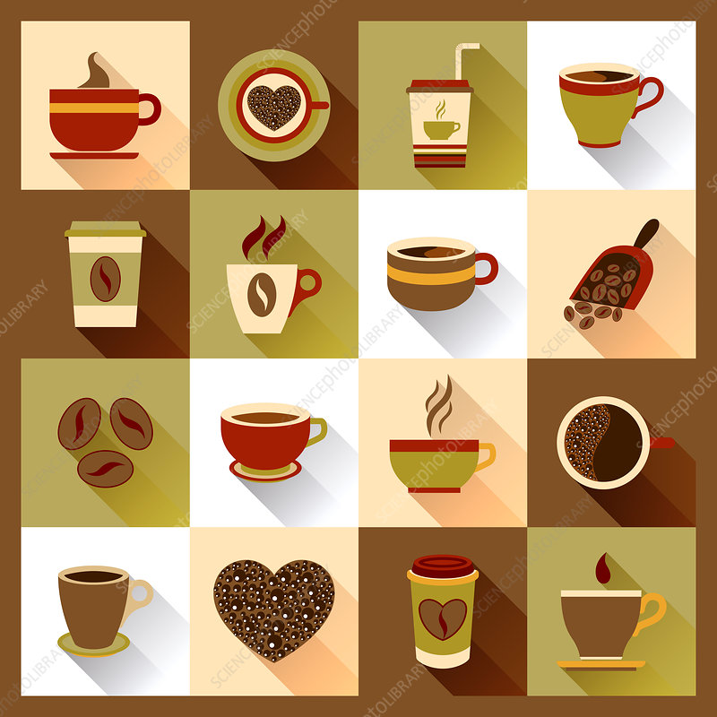 Coffee icons, illustration