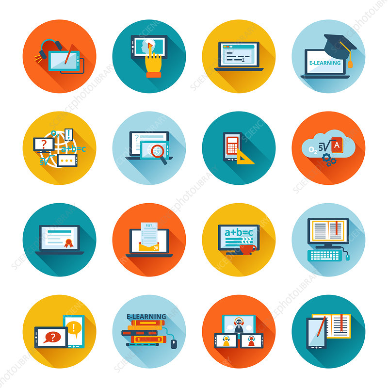 Online education icons, illustration