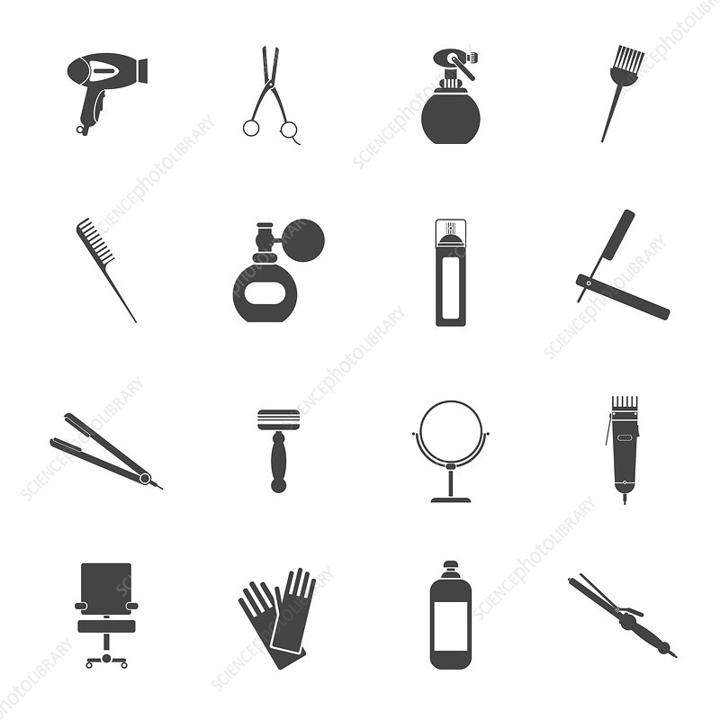 Hairdressing icons, illustration