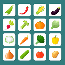 Vegetable icons, illustration