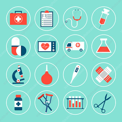 Healthcare icons, illustration