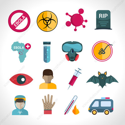 Ebola disease icons, illustration