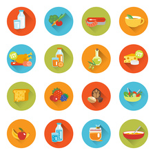 Healthy eating, icons illustration