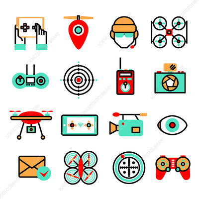 Drone icons, illustration