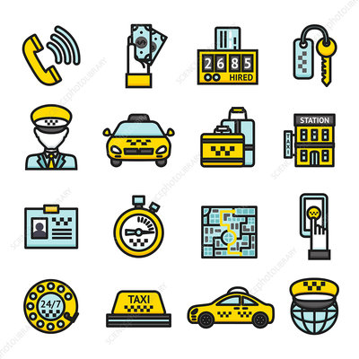 Taxi icons, illustration