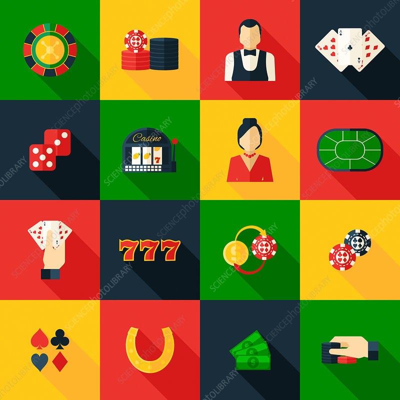 Gambling icons, illustration
