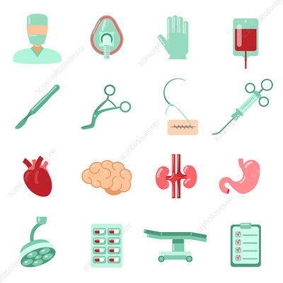 Surgery icons, illustration