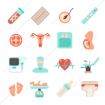 Reproductive health icons, illustration