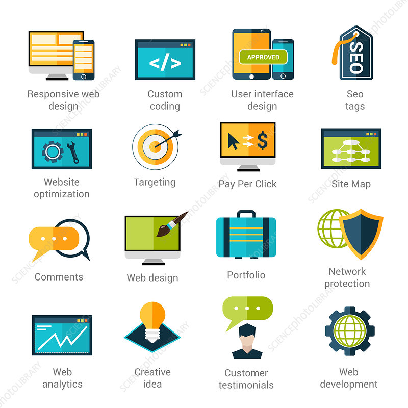 Web development icons, illustration