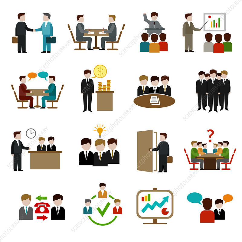 Business meeting icons, illustration