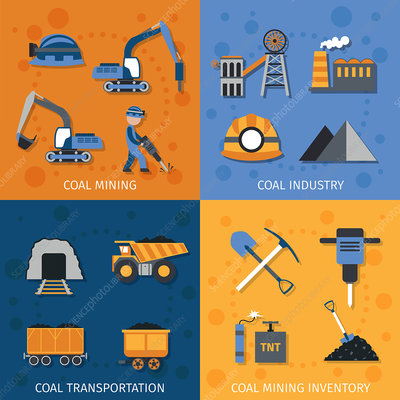 Mining icons, illustration