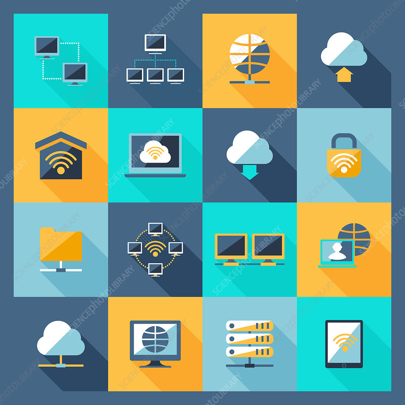 Computer network icons, illustration