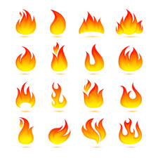 Flame icons, illustration