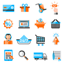 Online shopping icons, illustration