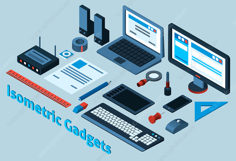 Gadgets and stationery, illustration