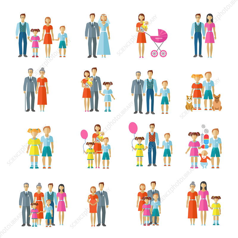 Family icons, illustration