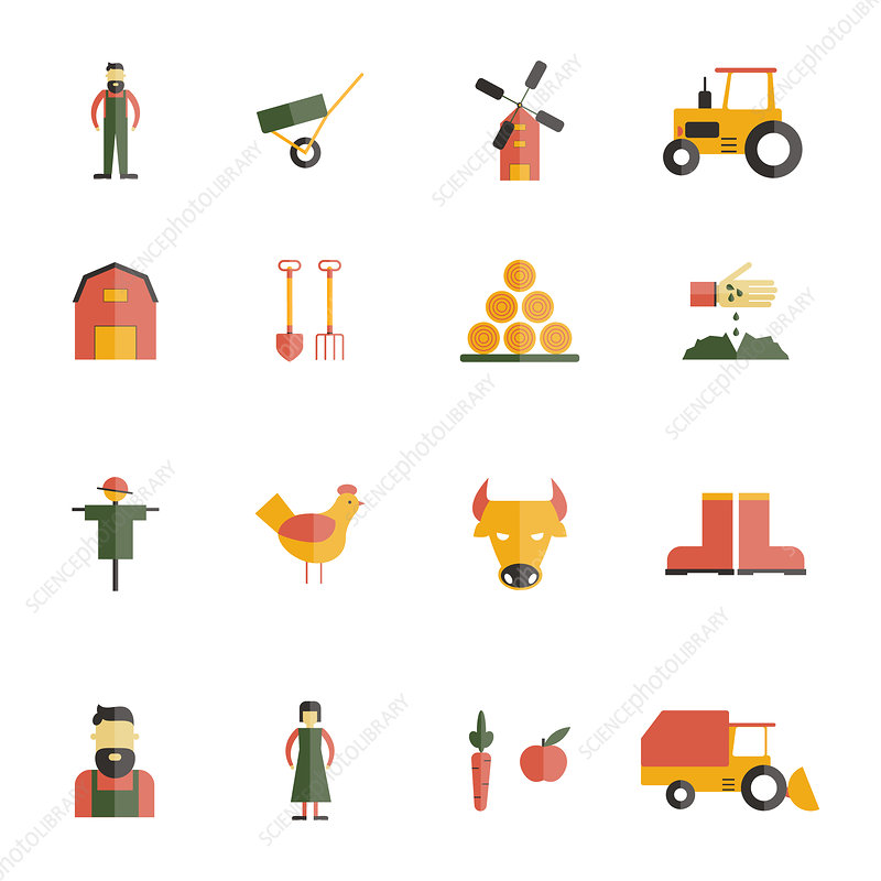 Farming icons, illustration