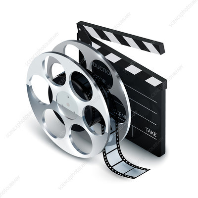 Film reel and clapperboard, illustration