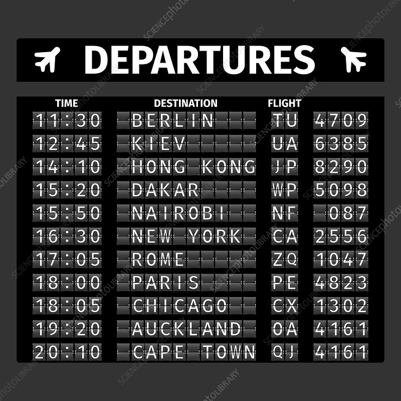 Airport departure board, illustration