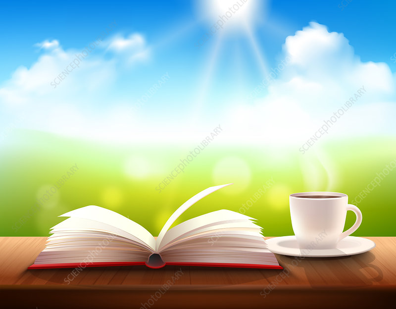 Open book and coffee cup, illustration
